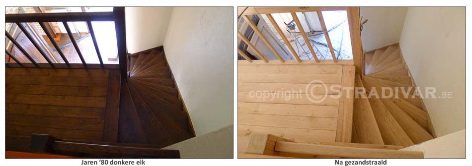 Zandstralen van hout trappen deuren balken foto for Trap eiken